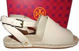 Tory Burch  Ivory Leather Espadrille Flats Sandals Loafers Mules 7 Ankle... - €127,58 EUR