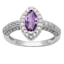 Marquise Cut Amethyst & White Topaz 925 Sterling Silver Cluster Halo Ring - $32.64