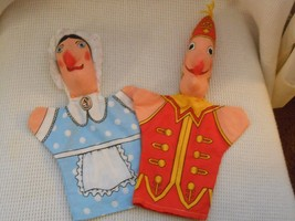 "2 Vtg ANNE WILKINSON DESIGNS Cloth HAND Puppets Characters ""Punch"" & ""Judy"" - $17.99"