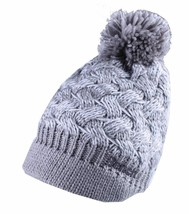 Bench Acrylic Grey White Alanna Peaked Bobble Pom Knit Beanie Winter Hat NWT image 1