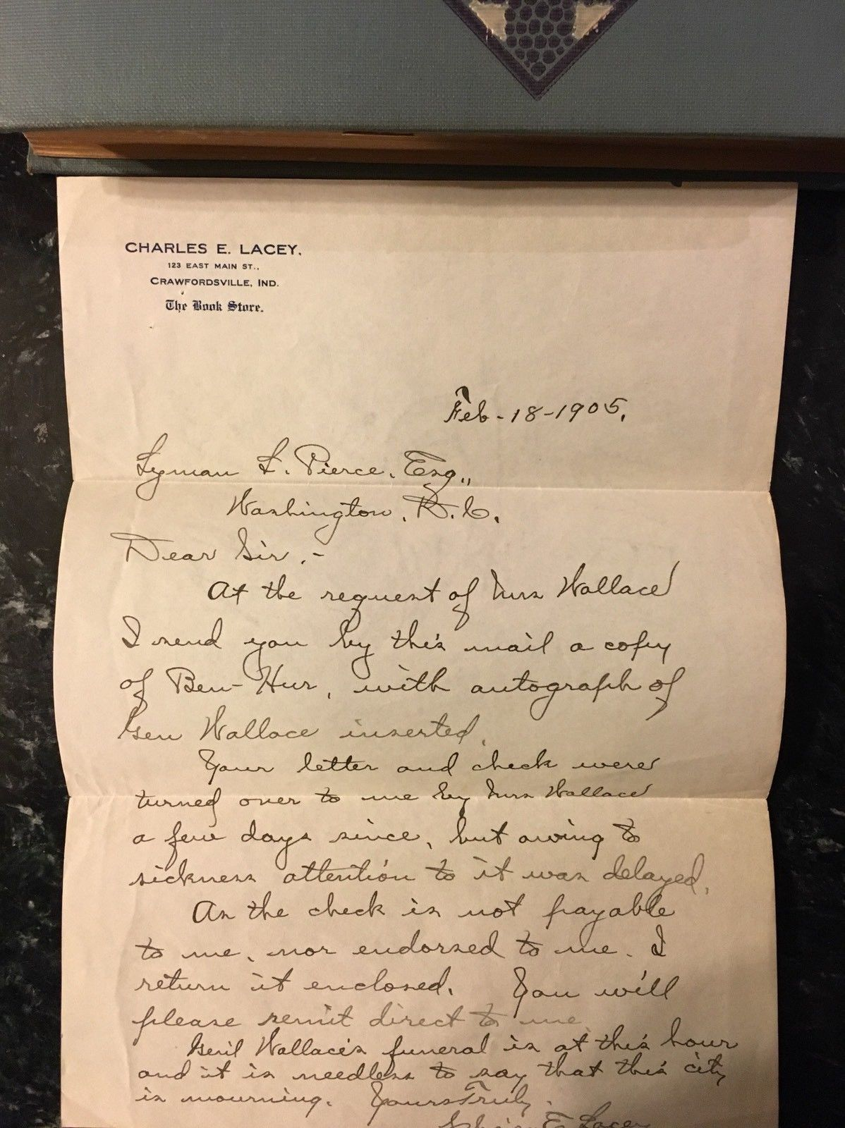 Ben-Hur A Tale of the Christ by Lew. Wallace Harper 1905, w/letter and signature