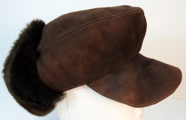 Nordstrom Authentic Real Lamb Fur Brown Hat Cap Ear Flaps - $29.73 CAD