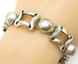 925 Sterling Silver - Vintage Dome Curved Square Link Chain Bracelet - B... - $140.49