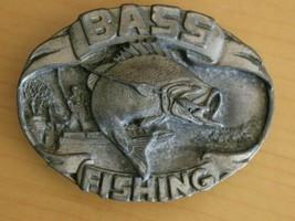 Vintage 80s Siskiyou Jumping Bass Fishing Pewter Belt Buckle Fisherman A... - $9.75