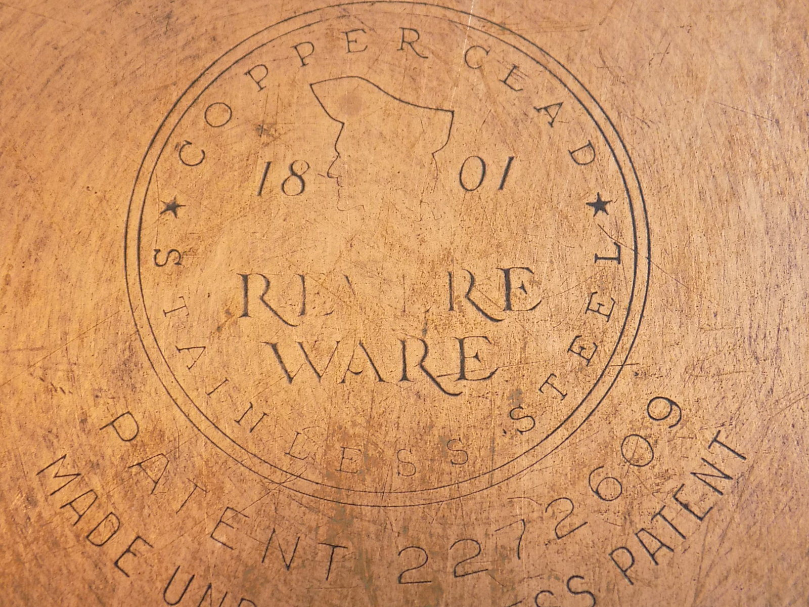 REVERE WARE 10 inch SKILLET Vintage COPPER BOTTOM FRYING PAN 2363973 w/ Lid