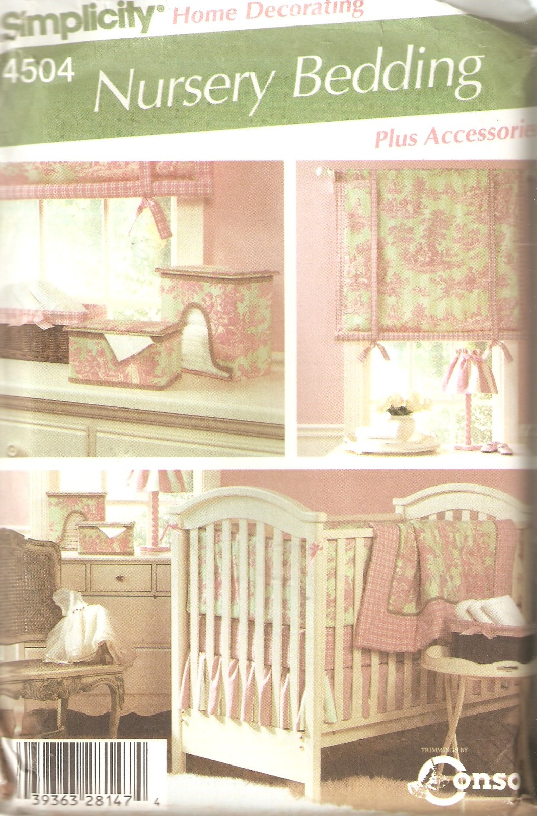 Nursery Bedding Accessories Sewing Pattern Simplicity Home Decor 4504 Uncut 1