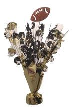 "2 Football motif balloon weights 15"" tall metallic gold and black brown ball - $9.85"