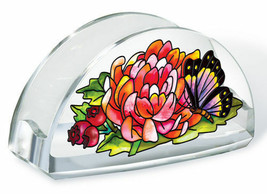 Indian Summer Business Card Holder Butterfly Flowers Berry Acrylic New L... - $16.48