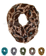Leopard Cheetah Wild Animal Print Block Circle Loop Wrap Infinity Scarf Casual - $6.45