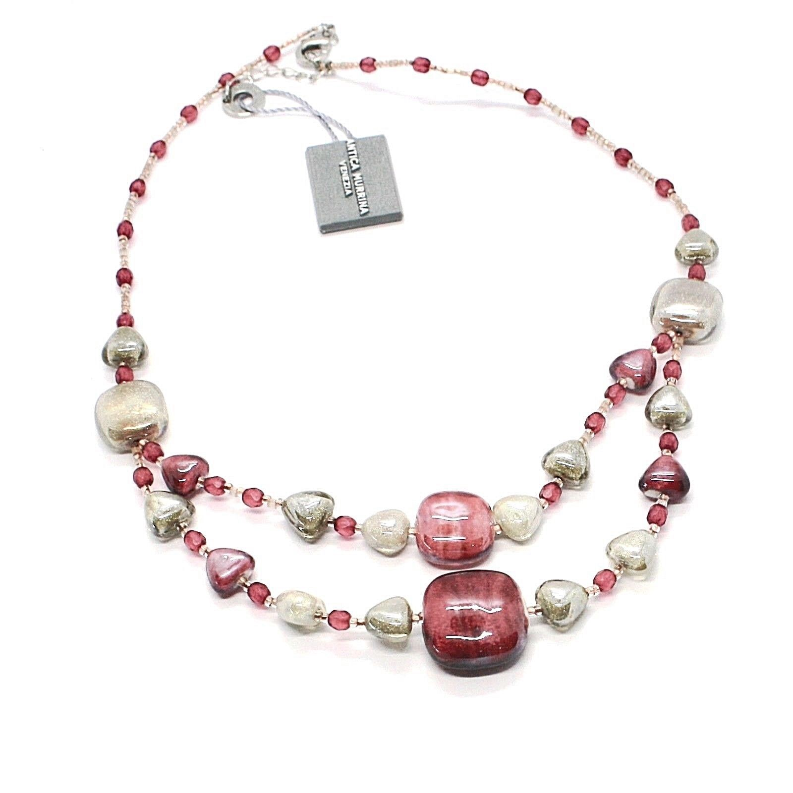 NECKLACE ANTICA MURRINA VENEZIA WITH MURANO GLASS RED BEIGE SAND CO930A11
