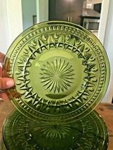 "Lot 8 Vtg 70s MCM Colony Park Lane Green Depression Glass Luncheon Plates 8 1/4"" - $116.10"