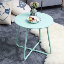 Patio Side Table Weather Resistant Mint Green Steel Outdoor Round End Tables New - $45.98