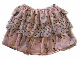 Gap Girls Size 8 Medium Pink Skirt Floral Ruffle Ruffle Elastic Waist Ca... - $11.30