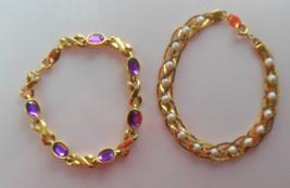 Two Avon Gold-tone Rhinestone & Faux Pearl Bracelets  - $26.72