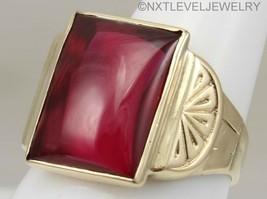 Antique Art Deco SIGNED LARGE 12ct Ruby Cabochon 10k Solid Gold Men's Ring - $470.25