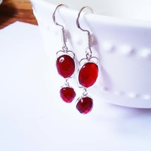 Red Garnet Quartz Gemstone  Earrings  Handmade, Sterling Silver Jewelry,... - $15.00