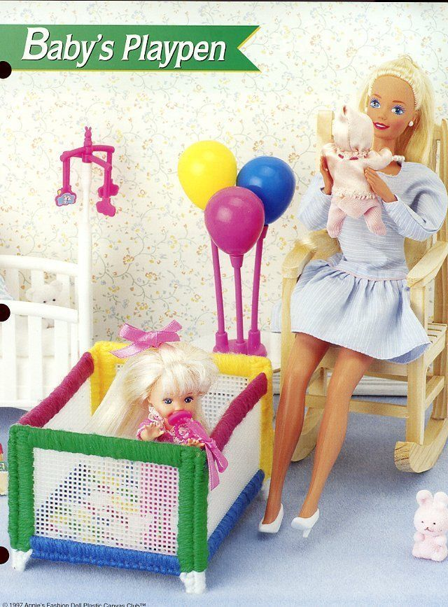 Baby's Playpen fits Barbie Doll Plastic Canvas PATTERN/Instructions Leaflet