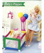 Baby's Playpen fits Barbie Doll Plastic Canvas PATTERN/Instructions Leaflet - $2.67