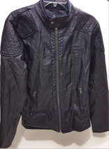 Buffalo David Bitton Mens Medium Motorcycle Jacket, Blue Marine XXL - $89.09