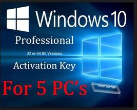 Windows 10 Professional Pro  32/64-bit  5 user  License Activation key F... - $38.95