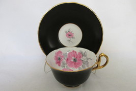 Vintage Royal Stafford English Bone China Cup & Saucer - Black with Pink... - $22.99