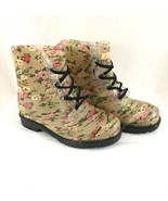 Chemistry Womens Combat Boots Rubber Floral Lace Up Beige Size 9 - $38.69