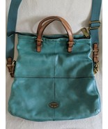 Fossil Teal leather Explorer convertible crossbody extra large beautiful... - $79.19