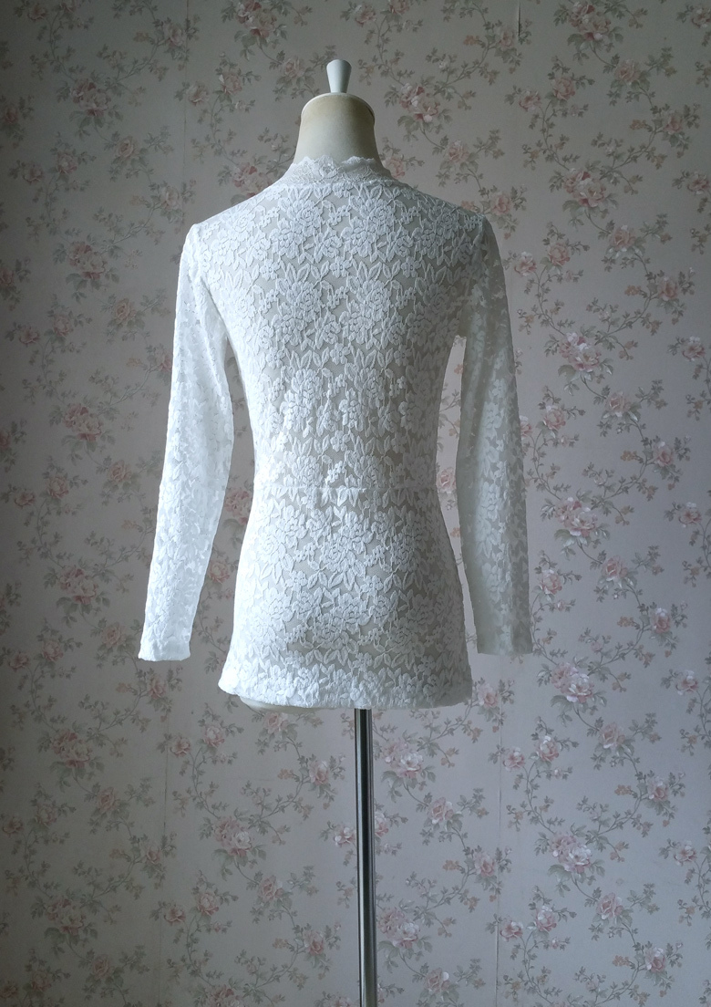 Lace top white long sleeve 780 6