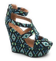 by M 6 Sandals Print Turquoise Platform Follow Journeys Me 5 Shi Womens Wedge 76d7H
