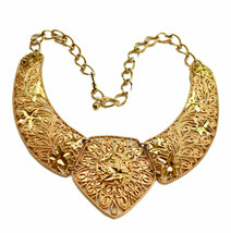Designer Jose Barrera Gold Plated Bib Necklace Avon 10K Gold Plate  - $54.45