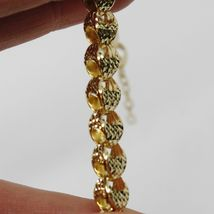 18K YELLOW GOLD BRACELET, BIG ROUNDED DIAMOND CUT OVAL DROPS 6 MM, ROUNDED image 7