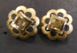 Vintage Trifari Brushed Gold Tone Clip on Earrings - $10.88