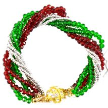Green & Red Christmas Colors Holiday Twisted Multi-Strand Beaded Bracelet image 3