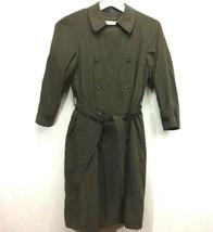 Chaps Ralph Lauren Trench Coat Size 40 Overcoat Jacket Lined Brown Belt Vintage - $66.39