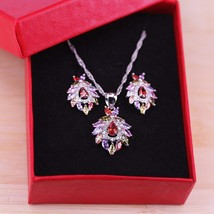 Artistic Vintage Cubic Zircon Jewelry Colorful CZ Crystal 925 Silver Pen... - $14.44