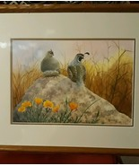 """Quails And Poppies Original Watercolor Gerald Pettit 1925-2012 """"Early Mo... - $891.00"""