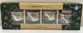 Pfaltzgraff Grapevine Napkin Rings Ceramic Set of 4 NEW in Box - $14.99