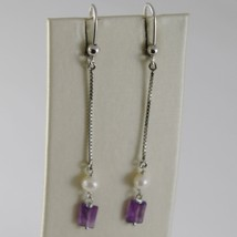 SOLID 18K WHITE GOLD PENDANT EARRINGS WITH AMETHYST AND PEARL MADE IN ITALY image 1