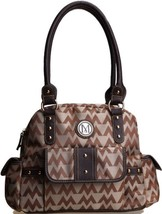 M LOGO unbranded Jaquard HANDBAG DESIGNER LOOK TAN SATCHEL BROWN TRIM PURSE - $29.99