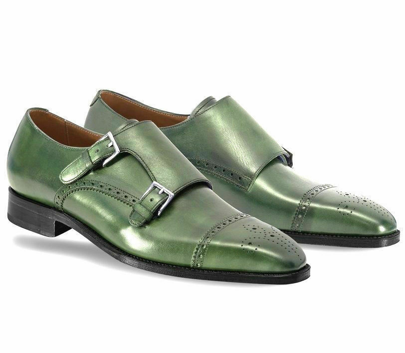 Handmade Men's Green Heart Medallion Double Monk Strap Leather Shoes
