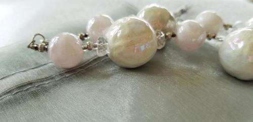 Glass marble beads and Pearl Beaded Necklace - Handmade Jewelry