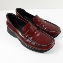 Womens Red Coach Leather Loafers Sz 37 US 6.5 Made In Italy - $140.24