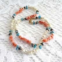 Necklace Turqoise Coral Hematite Pearls Semi Precious Bead 1970s Artisan... - $48.00