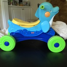 Fisher Price Musical Ride a Long Dolphin Rare Blue Sea Child Riding Toy ... - $44.54