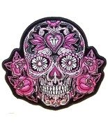 PINK SUGAR SKULL and ROSES EMBROIDERED BIKER PATCH   iron on - $5.60