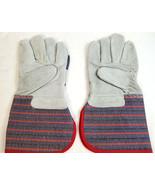 Leather/ Cotton Multi-Task Industrial Garden Carpenter Work Gloves Blue Red - $14.99