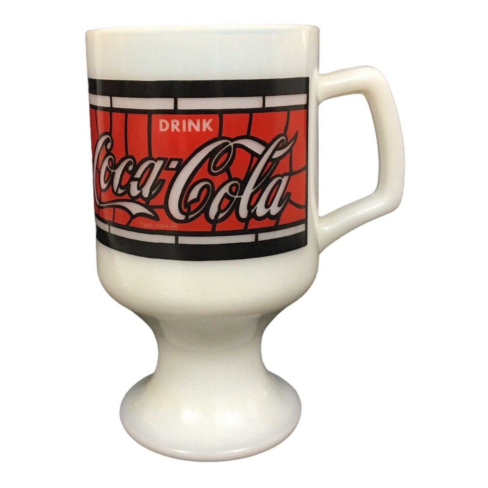 Coca-Cola Milk Glass 1900-1975 75th Anniversary-Pedestal Mug Irish Coffee Cup - $13.85