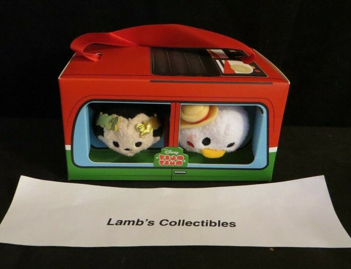 "Primary image for Disney Store Tsum tsum set of two Mickey & Donald in Italy bus box 3.5"" plush"