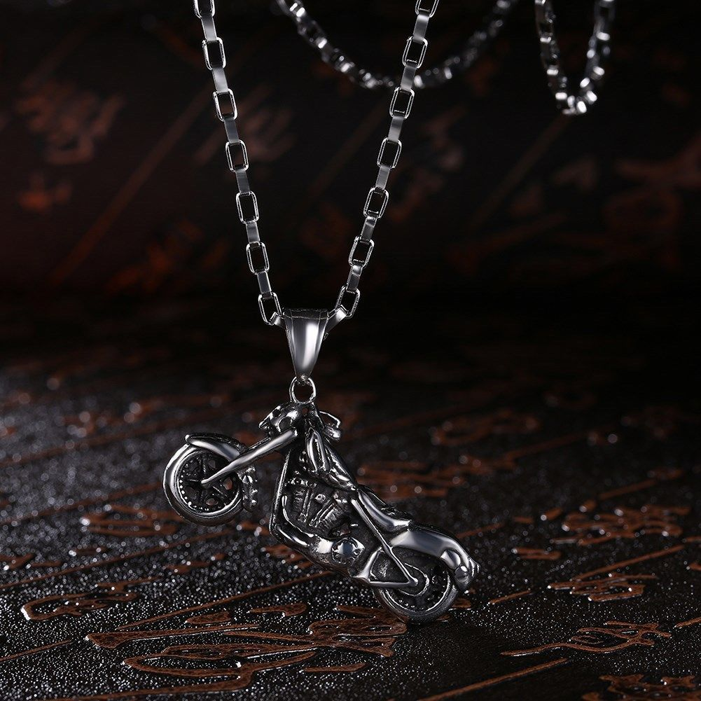 Skeleton Motorcycle Stainless Steel Handmade Necklace Pendant Fashion Jewelry image 3