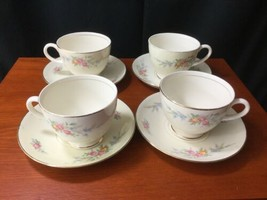 4 Georgian Eggshell Cashmere Cup And Saucer Sets Homer Laughlin - $19.79